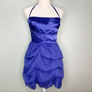 Bebe Dress M Sapphire Blue Cary Tulle Layers Silk